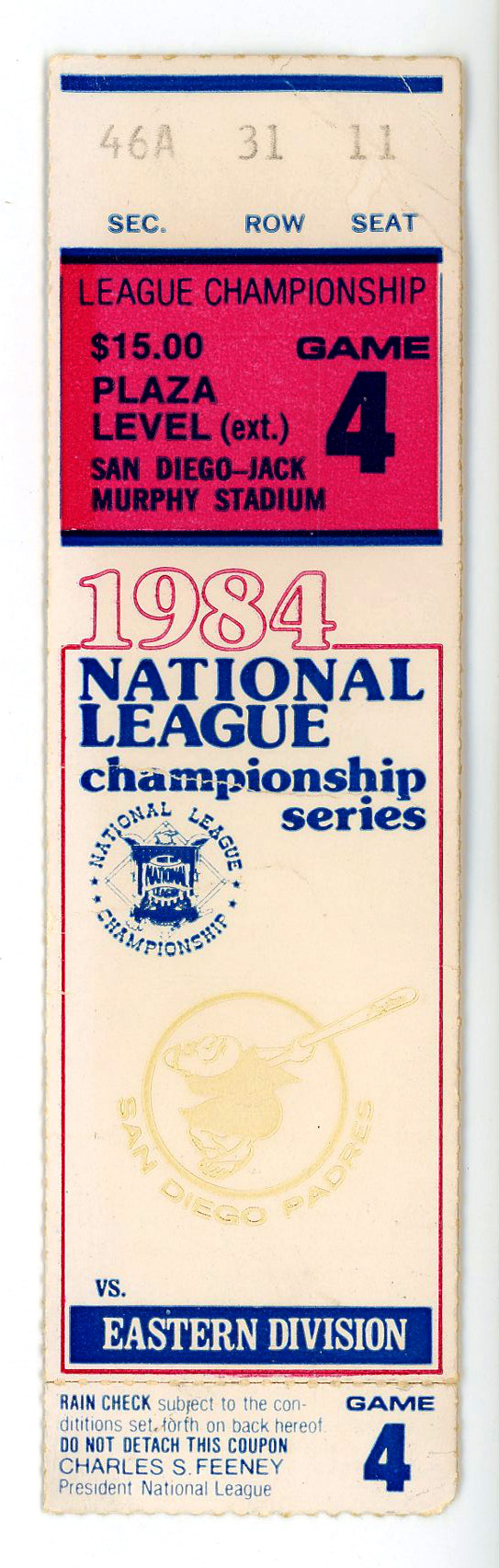 14. National League Championship Game 4 Ticket 1984